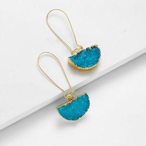 Druzy Drop Earrings - BLUE